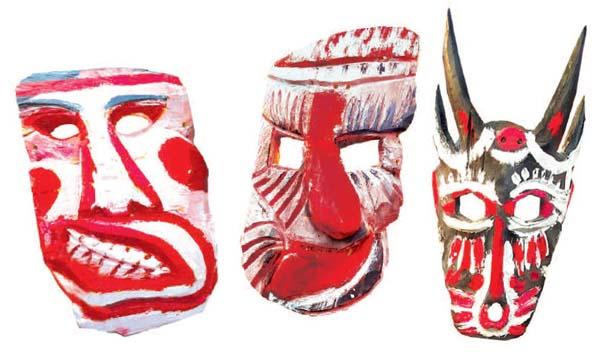 Mặt nạ hoá trang trong lễ bỏ mả vùng Bắc Tây Nguyên
