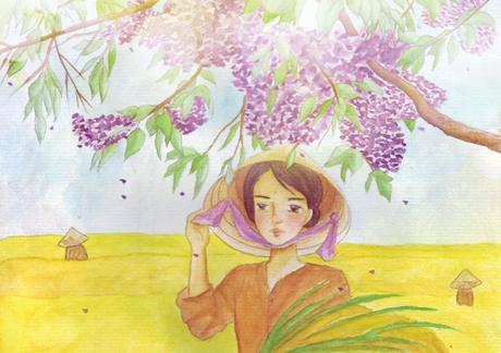 Hoa xoan tím biếc giêng hai
