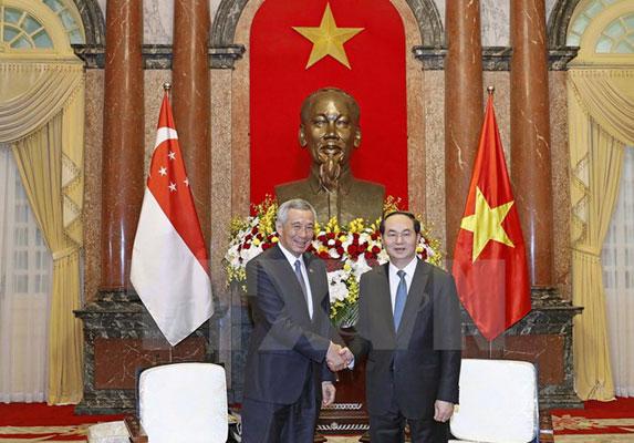 Chủ tịch nước Trần Đại Quang tiếp Thủ tướng Singapore Lý Hiển Long