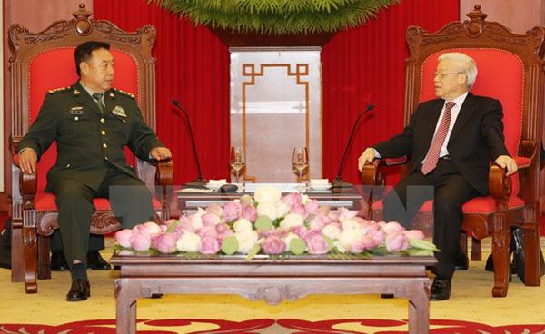 Tổng Bí thư Nguyễn Phú Trọng tiếp Phó Chủ tịch Quân ủy TW Trung Quốc