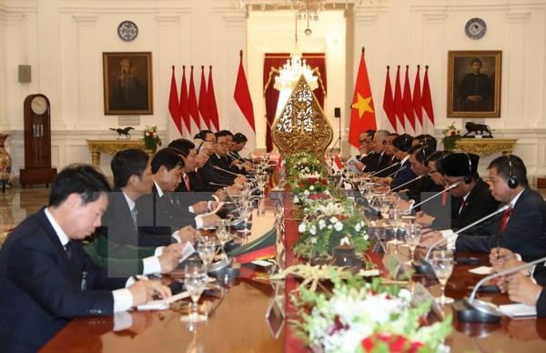 Tổng Bí thư Nguyễn Phú Trọng hội đàm với Tổng thống Joko Widodo