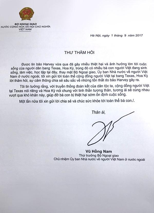 Thứ trưởng Vũ Hồng Nam thăm hỏi cộng đồng người Việt tại Texas, Hoa Kỳ về hậu quả của cơn bão Harvey