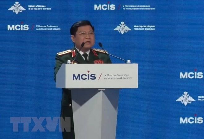 Đại tướng Ngô Xuân Lịch phát biểu ở Hội nghị An ninh Quốc tế Moskva