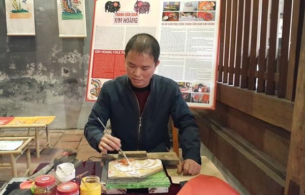Tranh dân gian Kim Hoàng trở lại không gian phố đi bộ Hà Nội