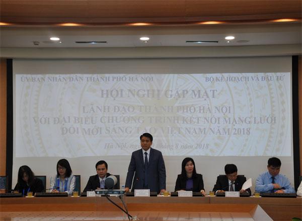 Lãnh đạo TP Hà Nội gặp gỡ đại biểu Chương trình kết nối mạng lưới đổi mới sáng tạo Việt Nam 2018