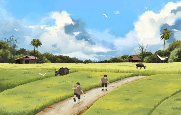 Về quê chạy giữa cánh đồng…