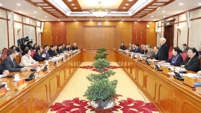 Bộ Chính trị làm việc với Ban Thường vụ Thành ủy Hải Phòng