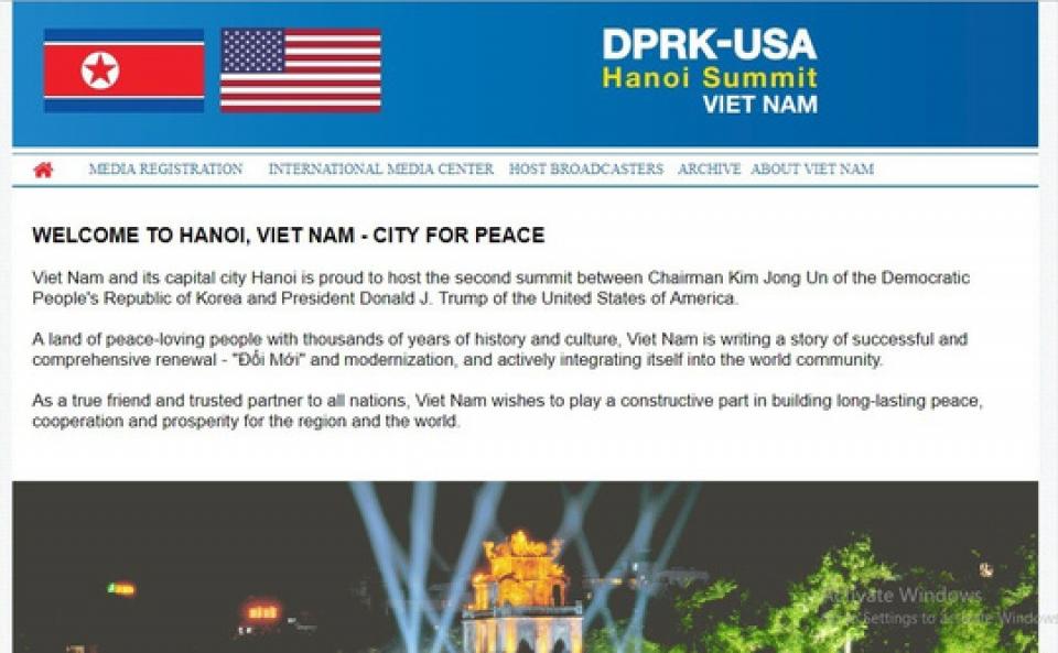 Bộ Ngoại giao mở website phục vụ phóng viên đăng ký tham dự Hội nghị Thượng đỉnh Mỹ - Triều