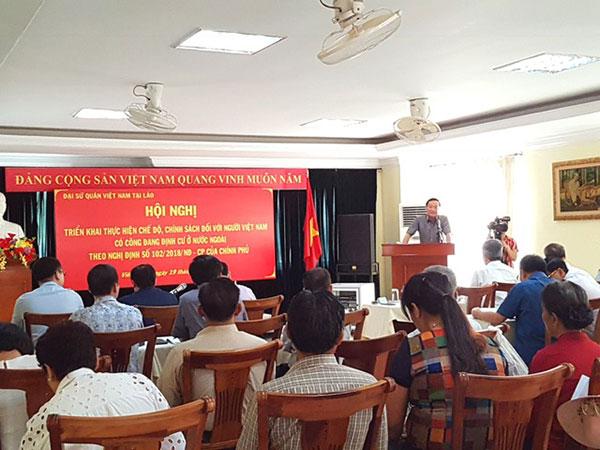 Hội nghị triển khai chế độ, chính sách đối với người Việt Nam có công đang định cư ở Lào