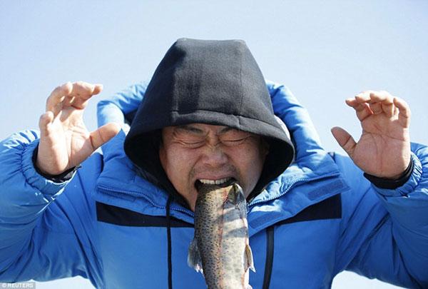 Lễ hội bắt cá dưới băng độc đáo ở Hàn Quốc