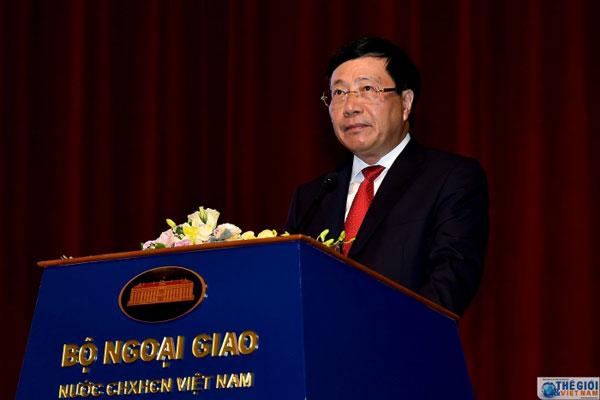Phó Thủ tướng Phạm Bình Minh phát biểu chỉ đạo Hội nghị Gặp mặt Đại sứ các nước Trung Đông - châu Phi 2019