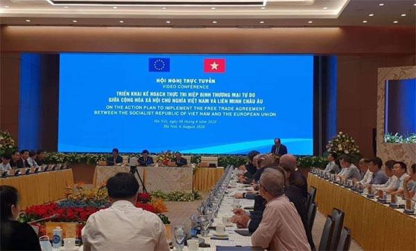 Thủ tướng chủ trì Hội nghị trực tuyến toàn quốc về triển khai EVFTA