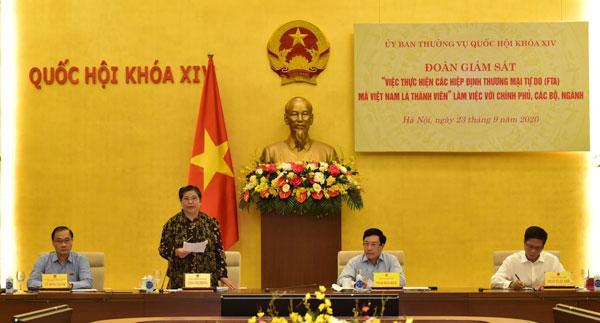 Đoàn giám sát của UBTVQH làm việc với Chính phủ việc thực hiện các FTA
