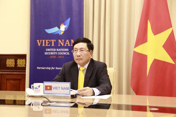 Phó Thủ tướng, Bộ trưởng Ngoại giao Phạm Bình Minh tham dự Phiên họp trực tuyến cấp cao của Hội đồng Bảo an Liên hợp quốc