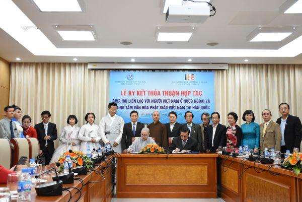 Ký kết thỏa thuận hợp tác giữa Hội Liên lạc với người Việt Nam ở nước ngoài và Trung tâm văn hóa Phật giáo Việt Nam tại Hàn Quốc