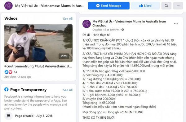 Cộng đồng người Việt tại Australia chung tay hỗ trợ đồng bào miền Trung