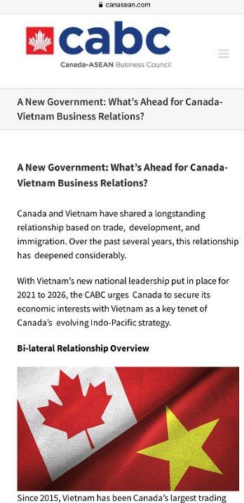Chính phủ mới: Điều gì đang chờ đợi trong mối quan hệ thương mại Canada-Việt Nam?