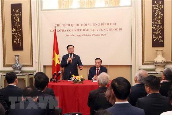 Chủ tịch Quốc hội Vương Đình Huệ gặp gỡ cộng đồng người Việt tại Bỉ