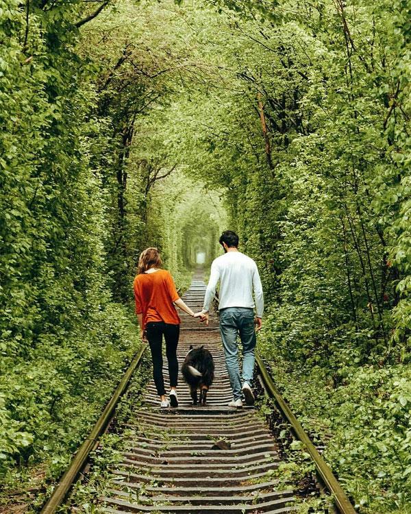 Đường hầm tình yêu đẹp tựa thế giới cổ tích ở Ukraine