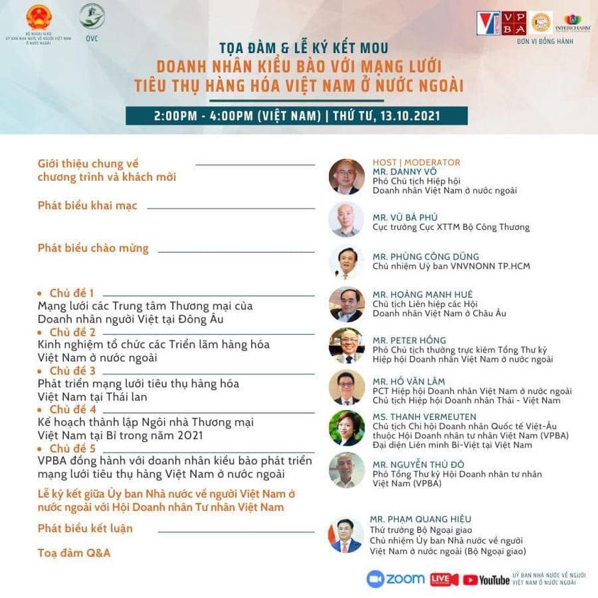 Tọa đàm trực tuyến về doanh nhân kiều bào với mạng lưới tiêu thụ hàng hóa Việt