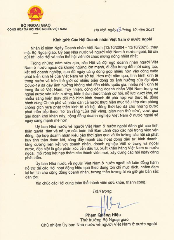 Chủ nhiệm Ủy ban Nhà nước về NVNONN gửi Thư chúc mừng doanh nhân kiều bào
