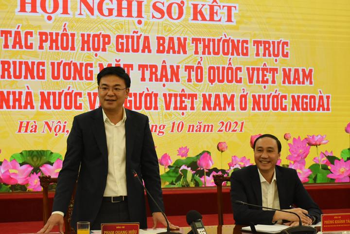 Hội nghị sơ kết công tác phối hợp giữa Ban Thường trực Ủy ban Trung ươngMTTQ Việt Nam và Ủy ban Nhà nước về NVNONN